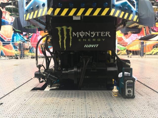 WD 40 and Makita Radio ready to clean Fun Fair ride