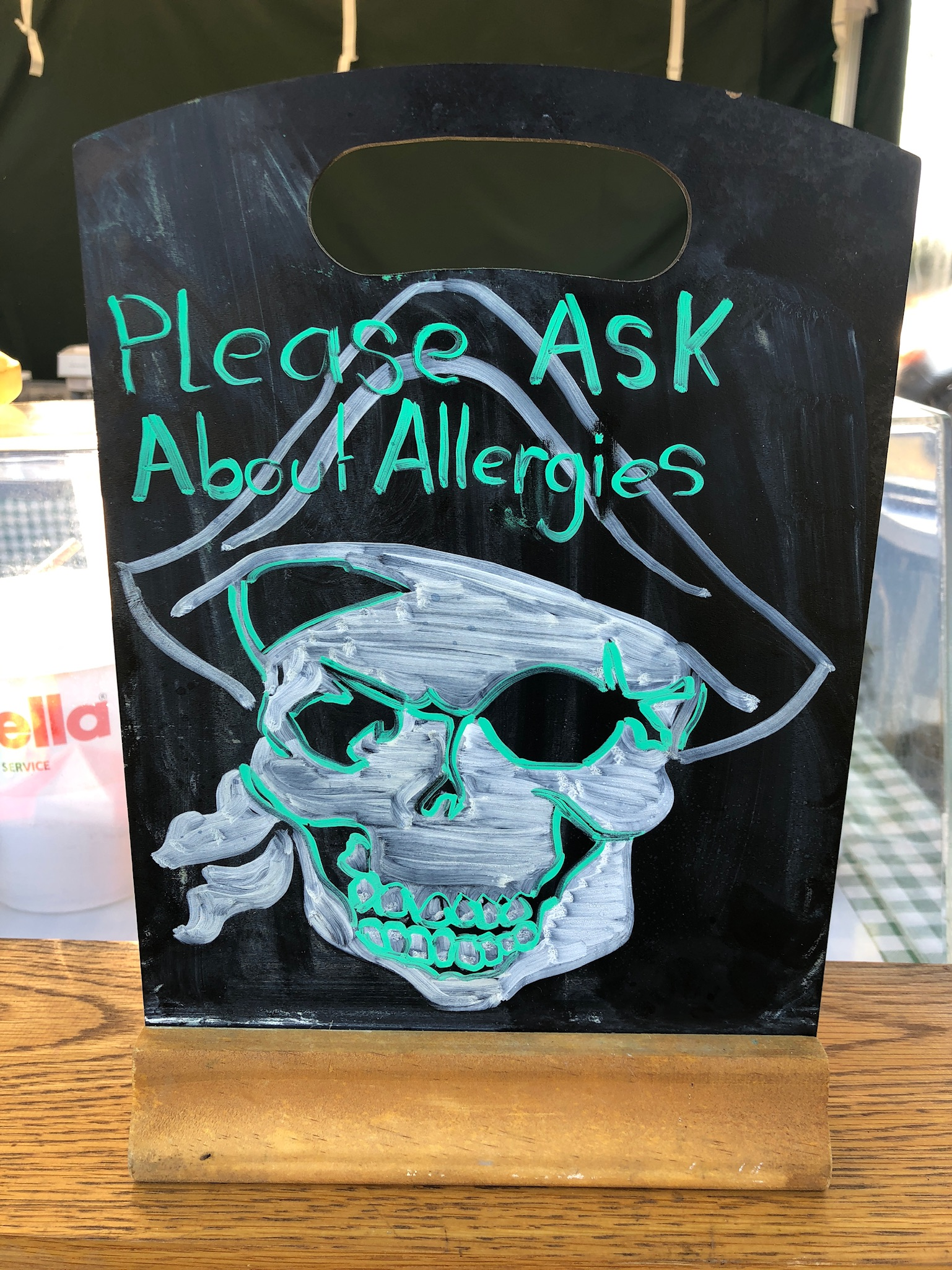 Pirate themed food allergies sign